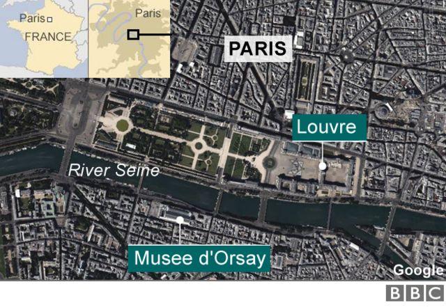 パリ中心部を流れるセーヌ(Seine)川と主要な美術館の位置