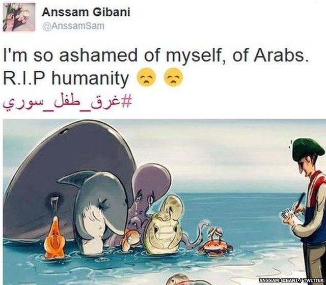 A cartoon of sea animals looking at Aylan Kurdi's body and crying and a comment reading: I'm so ashamed of myself of Arabs R.I.P humaity