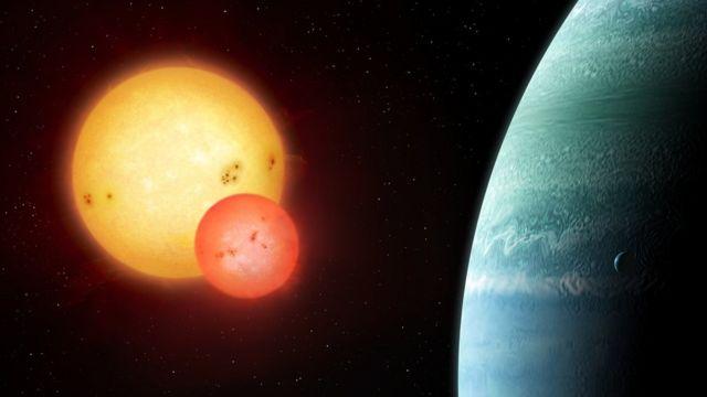 Ilustración de un planeta girando en torno a dos soles