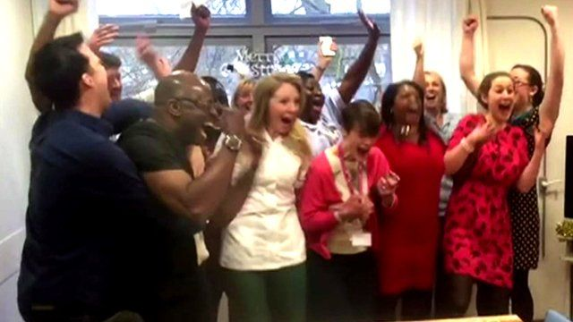 The Lewisham and Greenwich NHS Choir celebrate as the UK's Christmas number one is announced