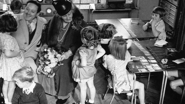 María Montessori en Londres en 1946.