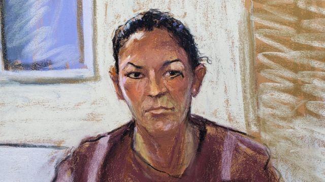 Boceto de la corte de Ghislaine Maxwell en julio de 2020