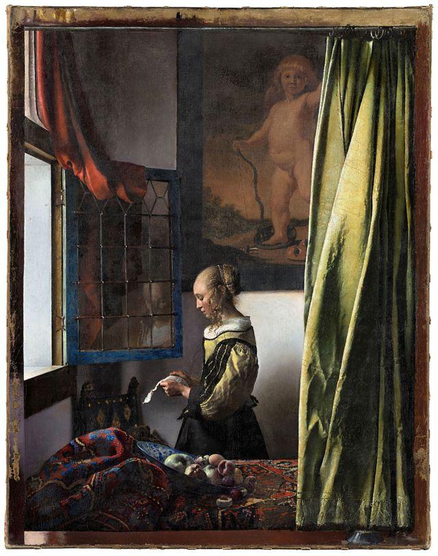 Quadro 'Moça lenda uma carta à janela'