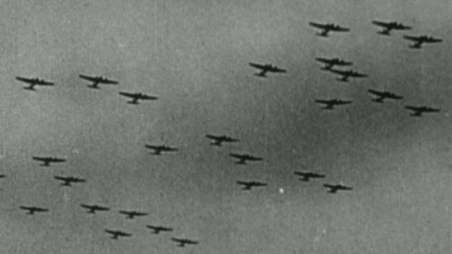 planes dropping bombs during the World War two Blitz