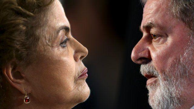 Dilma Rousseff (l) and Luiz Inacio Lula da Silva