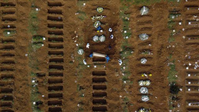 Fosas en cementerio de Brasil