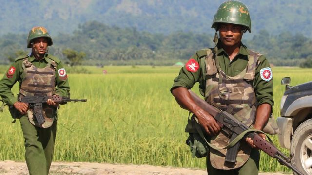 Myanmar army soldiers patrol a village in Maungdaw located in Rakhine State as security operation continue following the October 9, 2016 attacks by armed militant Muslim.