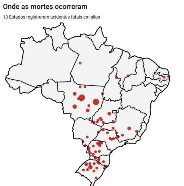 Mapa onde mais ocorreram mortes em silos