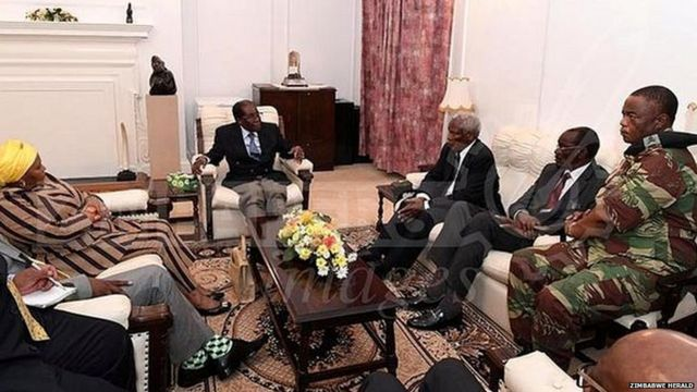 Mr Mugabe met officials at State House in Harare