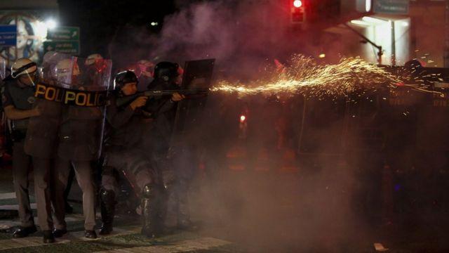 Policiais militares em protesto em SP