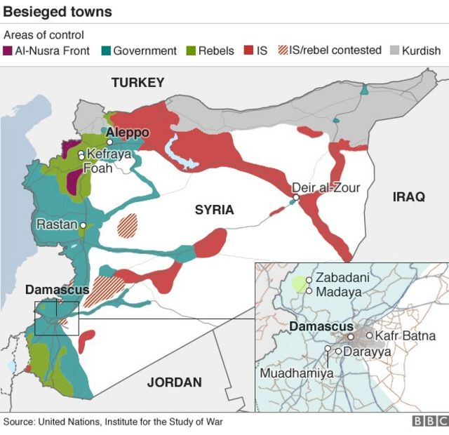 アレッポ(Aleppo)などシリア各地の町が包囲状態にある