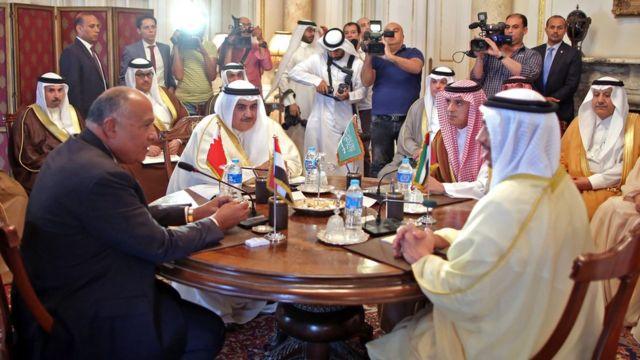 وزیران امور خارجه عربستان، امارات، مصر و بحرین