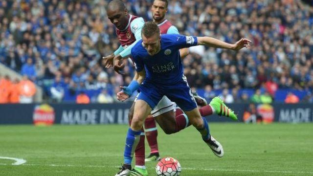 Jamie Vardy na faduwa a wasan Leicester da West Ham
