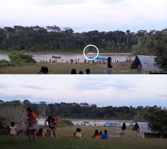 Colagem com duas cenas de vídeo mostra barco no rio e indígenas na terra