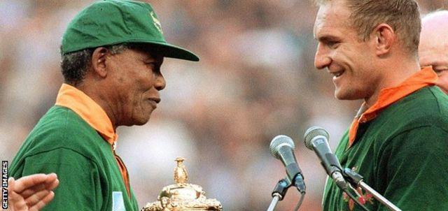 Francois Pienaar and Nelson Mandela
