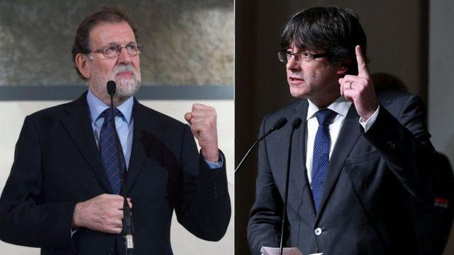 ماریانو راخوی، نخستوزیر اسپانیا (چپ) می گوید فقط با شخصی که به عنوان رئیس آینده دولت منطقهای برگزیده شود مذاکره خواهد کرد