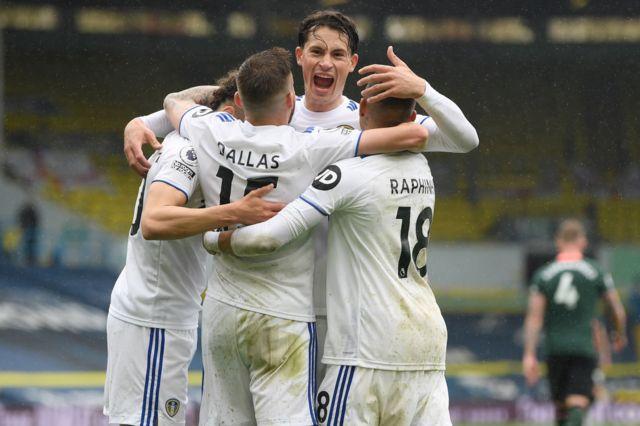 Leeds United celebrate their third goal against Tottenham