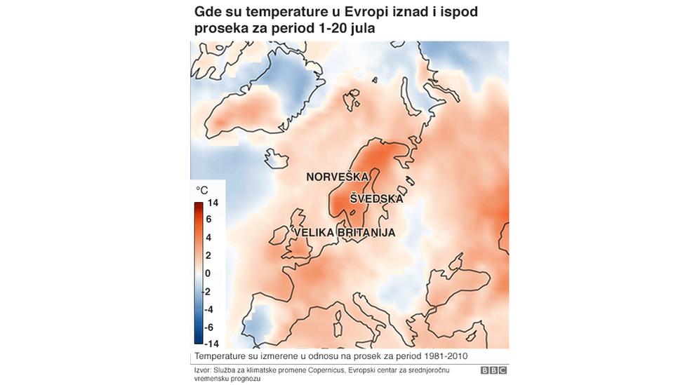Мапа која приказује где су у Европитемпературе изнад и испод просека за период од 1 - 20 јула.