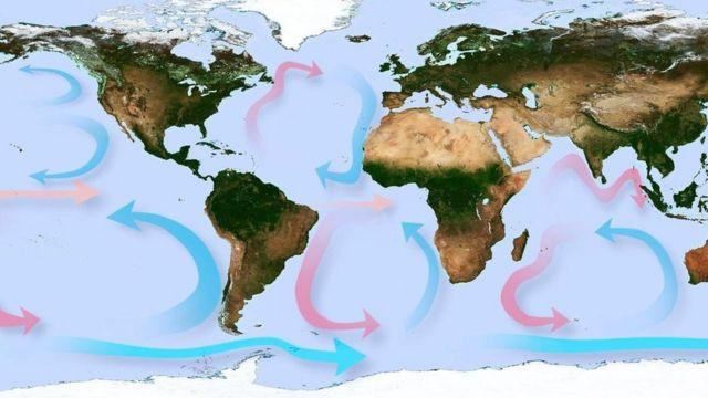 Mapa del planeta Tierra con las corrientes marinas
