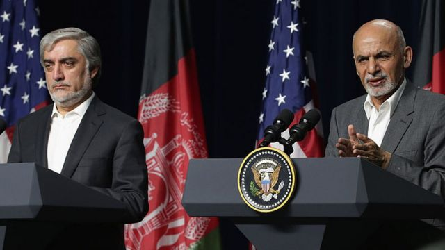 Afghan leaders President Ghani, right, and Abdullah Abdullah