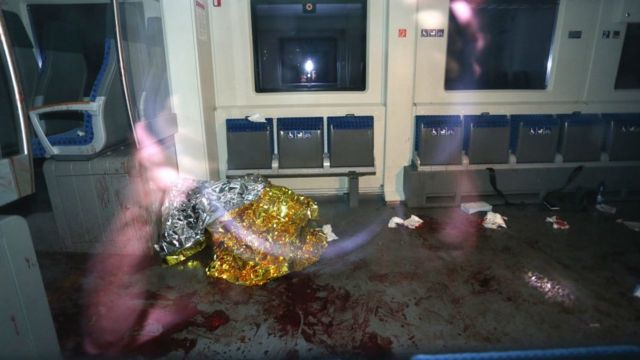 Bloodstains on the floor of the train carriage. 18 July 2016