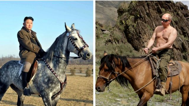 Composite picture of Kim Jong-un and Vladimir Putin on horseback