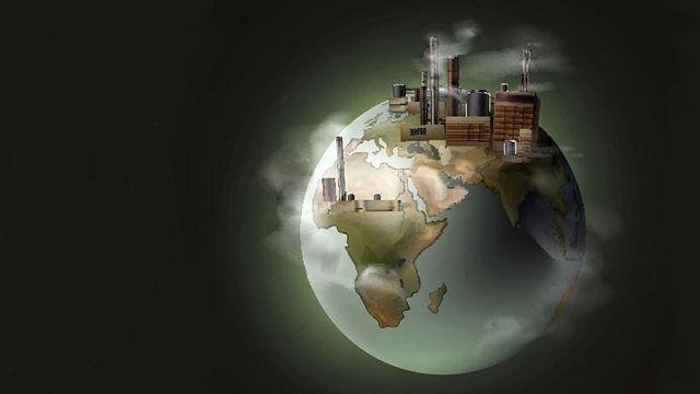 Planeta con fábricas