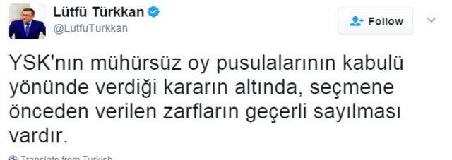 lütfü türkkan tweet