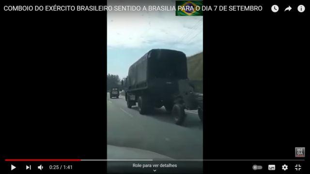 Reprodução de um vídeo com imagens de veículos do Exército