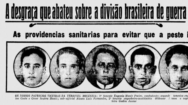 """Recorte de jornal com informações sobre os primeiros brasileiros acometidos pela """"espanhola"""" em Dakar, no Senegal"""