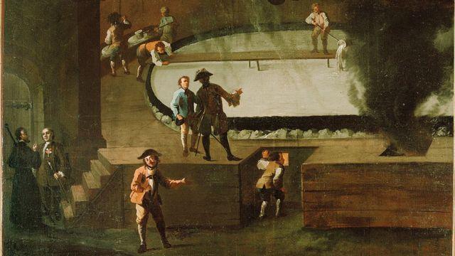 Trabajadores salinos y funcionarios de la mina de sal de Hallein, Salzburgo, siglo XVIII. Pintura de Benedikt Werksttter.