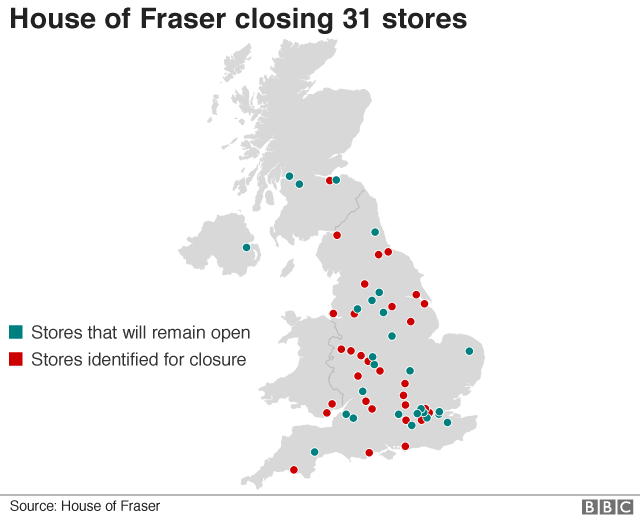 Map of House of Fraser store closures
