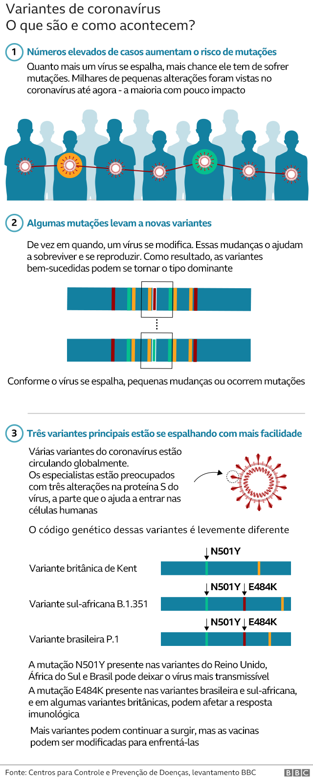 Gráfico sobre variantes do coronavírus