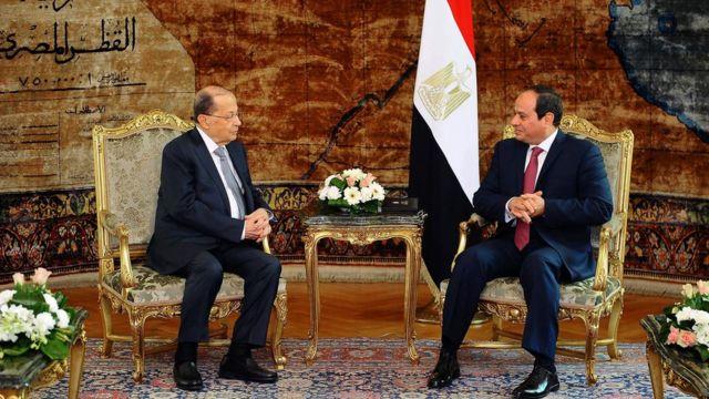 الرئيس المصري عبد الفتاح السيسي ونظيره اللبناني ميشال عون