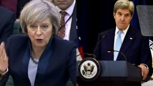 وزير الخارجية الأمريكي جون كيري ورئيسة الوزراء البريطانية تيريزا ماي