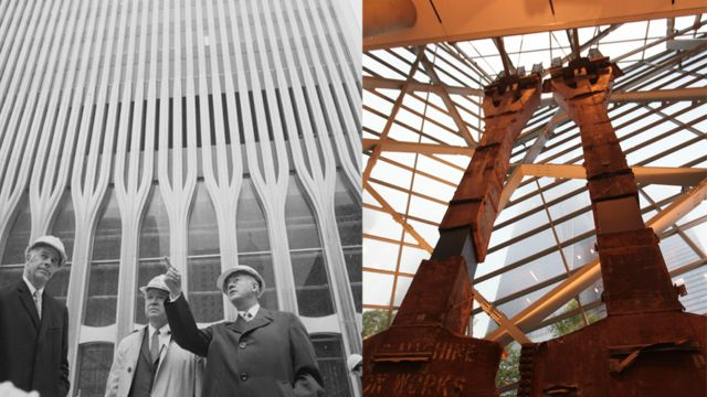 """Estructuras de metal de la Torre Norte del World Trade Center conocidas como """"El Tridente""""."""
