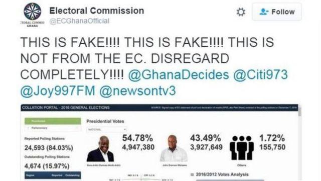 La Commission électorale exhorte les populations à ignorer les résultats fictifs publiés en ligne