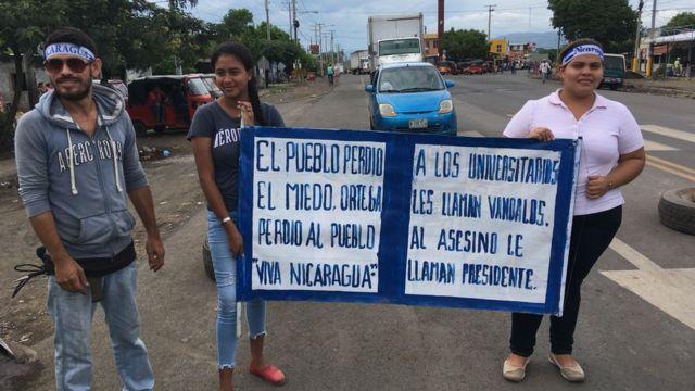 Manifestantes en Nicaragua.