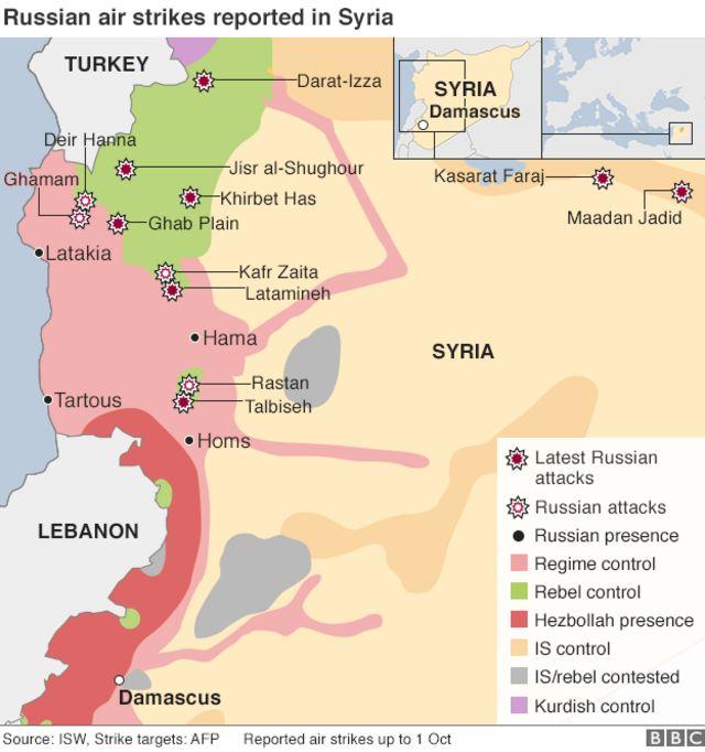 1日までのロシアによるシリア空爆の標的(出典:ISW、AFP)