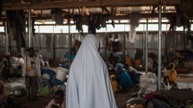 One women for camp for internally displaced pipo inside Nigeria