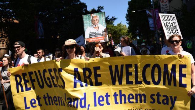 مظاهرات مؤيدة للاجئين في استراليا