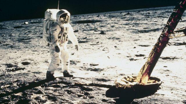 Buzz Aldrin en la luna en 1969