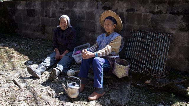 Dos mujeres mayores en Japón.