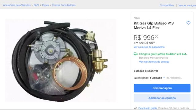 Kit para conversão clandestina de automóvel para GLP à venda no Mercado Livre
