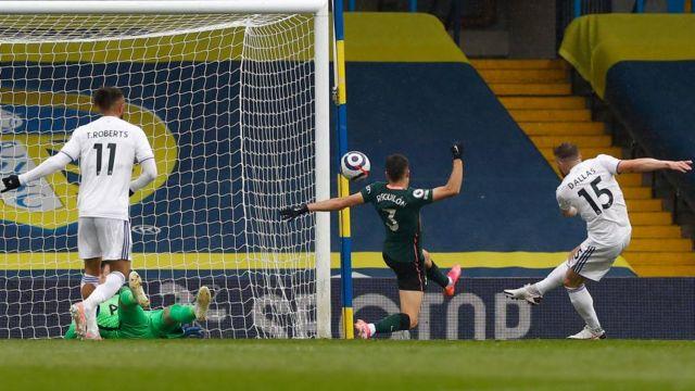 Stuart Dallas scores for Leeds United against Tottenham