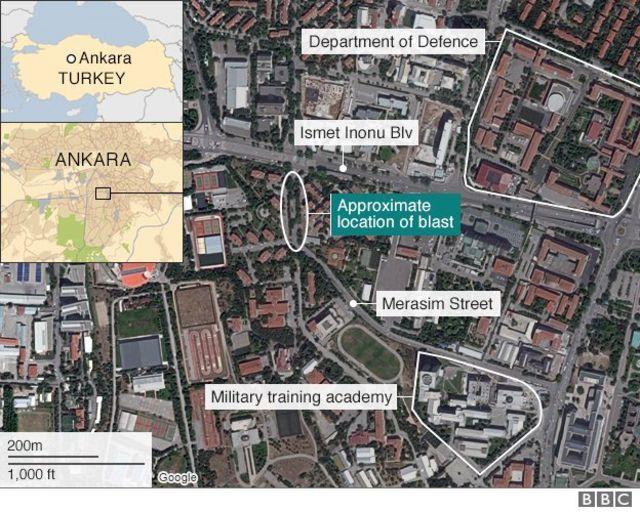 アンカラ市内の爆発現場の位置