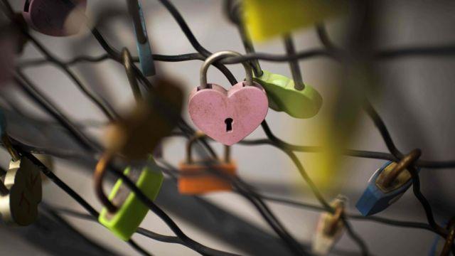 粉紅色心形鎖