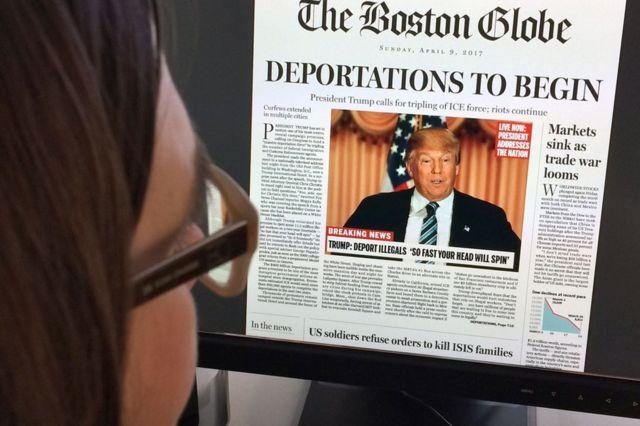 Portada falsa del diario Boston Globe que anuncia que el ahora presidente electo, el republicano Donald Trump, inicia las deportaciones de inmigrantes indocumentados.