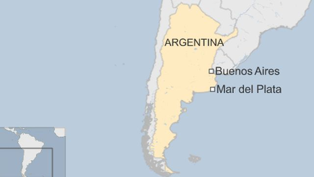 map of Argentina showing location of Mar del Plata
