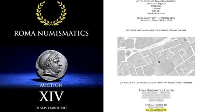 """Catálogo de Roma Numismatics que anuncia el decadracma de Alejandro Magno que se vendió por US$ 130,000) y """"Un agradecimiento especial a Salem Alshdaifat escrito adentro"""